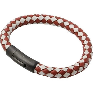 "Lederarmband ""Red / White"""